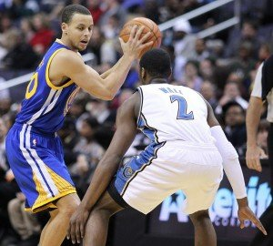 Stephen  Curry and John  Wall by Keith Allison is licensed under CC by 2.0