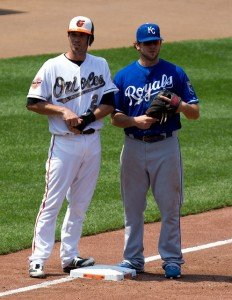 J.J. Hardy, Mike Moustakas by Keith Allison is licensed under CC by 2.0